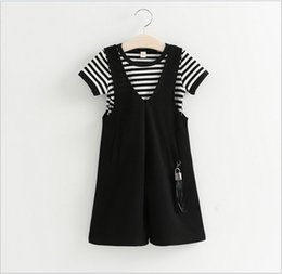 Wholesale Loose Sleeve Shirt Outfit - Baby Girl Summer Clothing Sets 2016 New Cute Girls Striped Short Sleeve T-shirt+Loose Harem Suspender Pants 2pcs Kids Outfits Children Suit