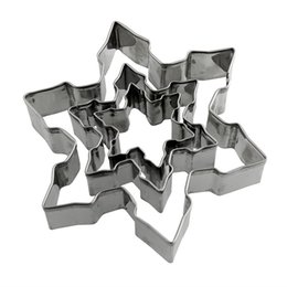 Wholesale Star Cutter Cookies - 220set 3pcs 1set New Stainless Steel Star Snowflake Biscuit Cutter Cookie Fondant Cake Mould Icing Mold DIY Baking Tool ZA0683