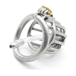 Wholesale Male Chastity Tube Cage - Sexy Mona Lisa - New Stainless Steel Chastity Cage Device Cambered Ring & Tube #R47