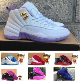 Wholesale Valentine Red - 2016 air retro 12 women basketball shoes Dark Purple Dust GS Hyper Youth ovo white wool Premium Deep Royal Blue Valentines Day sneakers