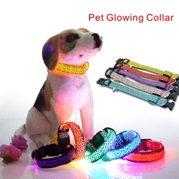 Wholesale More Collars - Fashion Leopard Nylon Telescopic Pet Collar LED light Dog collar 3 in the light mode, night walk more secure.