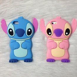 Wholesale Stitch Back Case - Stitch 3D Cartoon Soft Silicon Back Cover Phone Case For iPhone 8 6 6s 7 plus Hot Cool Design Opp Bag