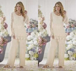 Wholesale Silver Hot Pants - 2016 Elegant Ivory Lace Chiffon Mother Of The Bride Dresses Pant Suits Plus Size Mothers Wedding Party Formal Evening Suit Hot