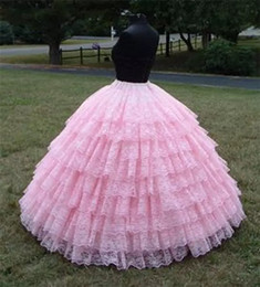Wholesale Lace Petticoats - Princess Pink 9 Layers Vintage Lace Petticoat 2016 Ball Gown Wedding Crinoline Petticoat For Gilrs Women Formal Evening Party Prom Petticoat