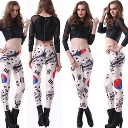 Wholesale Sexy Leggings Korea - Wholesale and retail of fashionable women sexy South Korea flag printed leggings capris bodybuilding sexy Girl Leggings Pants