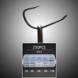 scatola di pesca Sconti 250 pz / lotto Tfsh -B # 2 # 4 # 6 # 8 # 10 Ganci spianati Set in teflon acciaio ad alto tenore di carbonio Carp Fishing Hook W / Free Hook Box Tackle Box