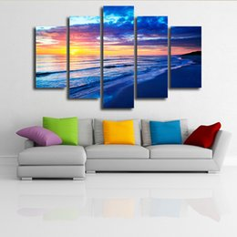 Wholesale Wall Paintings Without Frames - Home Decor Wall Sticker Living Room Office Decoration Painting Sea Sunrise Waves Canvas 5 Joint Without Frame Hanging Painting