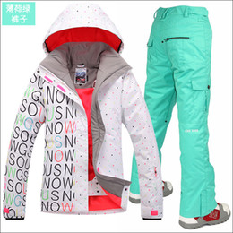 Wholesale Suit Jacket White For Woman - free shipping Gsou snow womens ski suit set snowboard suit for women snow suit black white ski jacket and colorful pants free ship by EMS