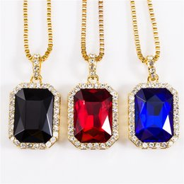Wholesale Cz Blue Pendant - Factory sale Geometric Necklace Bling Iced Out Red Ruby CZ Pendant Chain 18k Gold Square Red,Black,Blue RYBY Pendant 45''30 Chain Necklace