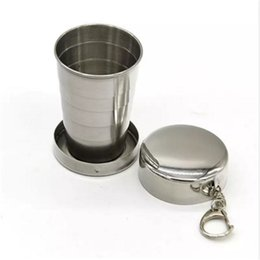 Wholesale Stainless Steel Retractable Keychain - Stainless Steel Portable Mini Travel Retractable Cup Keychain Folding Collapsible Cup S a57-a64