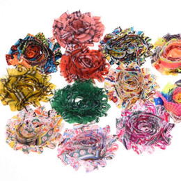 """Wholesale Shabby Chic Flowers For Babies - Wholesale 100PCS 2.5"""" Plaid Chiffon Flowers Shabby Chic Hair flower for Hair Accessories Without Clips Newborn Baby Headwear flower"""