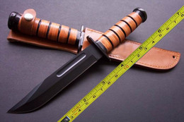 Wholesale Knives Leather Handles - NEW KA-BA 440 Blade Leather handle Outdoor camping knife 1217