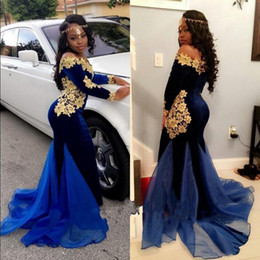 Wholesale Evening Gowns Tail - Dark Royal Blue And Gold Applique Prom Dresses Africa Off Shoulder Long Sleeves Evening Dresses Special Design Mermaid Tail Party Gowns