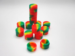 Wholesale Wax Dry Herb Color - Rasta color 2ML cheap Wax Dry Herb Jars Dab Round Shape Silicone Container