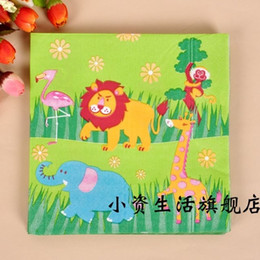 Wholesale Paper Napkins For Birthday Party - Wholesale- 20pcs lot The forest animals Paper Napkin Festive & Party Tissue Napkin Supply for Kids Birthday Party Decorations c17
