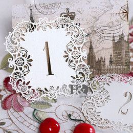 Wholesale Rustic Wedding Table Numbers - Wholesale- 10pcs set Ivory Hollow Lace Table Number Table Cards from 1 to 10 Rustic Wedding Centerpieces Decor Vintage Wedding Decoration