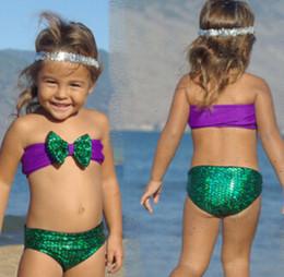 Wholesale Korean Kids Swimming - New Korean Baby Girls Bikini Kids Girl Swimwear Baby Swimsuit Ruffle Bow Princess Three Pieces Swim Cute Clothing