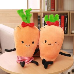 Wholesale Plush Carrot - Wholesale- New 1pc Cute Plush Pillow Carrot Plush Cushion Creative Birthday Gifts Kids Toy Doll For Girl Present 2 Style High Quality