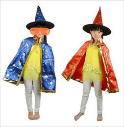 Wholesale Teenage Wholesale Clothes - Halloween children clothing magician cloaks children cloaks witch cloak + hat two sets lace children cloak coat girl Theme Costume cloak