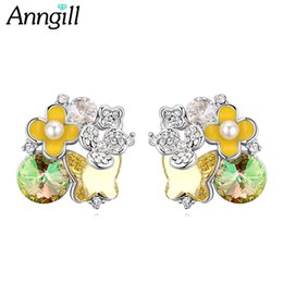 Wholesale Genuine Swarovski Jewelry - wholesale  Genuine Crystals from Swarovski Stud Earrings for Women Luxury Ear Accessories Wedding Birthday Gift Fine Jewelry