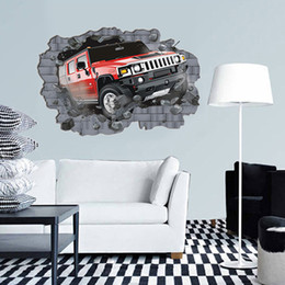 Wholesale 3d Wall Pictures - Free Shipping Super Big Large Creative 3D Car Wall Sticker Pvc Wallpaper Rolls Wall Picture For Bedroom Home Decor 70*100Cm