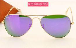 2019 gafas de moda para adultos gafas de sol mujeres hombres azul verde púrpura naranja flash espejo gafas de sol marco de oro metal mejor calidad diseñador de la marca piloto gafas de sol 58mm