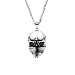 Wholesale Black Mask Necklace - Wholesale 10Pcs lot 2017 New Fashion Men's Punk Jewelry Pendant American Soldier Skull USA Flag Mask Demon Skeleton GIJOE Silver Necklaces
