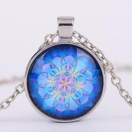 Wholesale india yoga - India Flower Mandala Glass Cabochon Necklace Yoga Flower Time Gemstone Pendants Fashion Jewelry for Women Drop Ship 161037