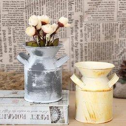 Wholesale Vintage Metal Planter - Vintage Nostalgia Mini Garden Shabby Watering Can  Milk Tin Bucket  Flowers Keg Planter Favor Iron Box ZA4829