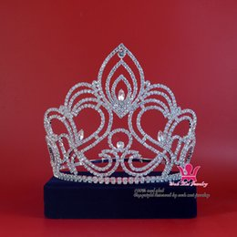 Wholesale Silver Queen Crown - Pageant Tiara Crown Miss Beauty Winner Queen Crown Bridal Wedding Jewelry Princess tiara Party Prom Night Clup Show Crystal Headband Mo189