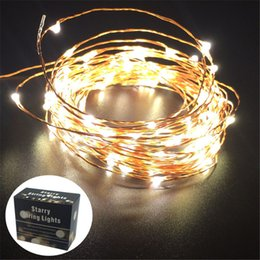 Wholesale Dc List - 50pcs Wholesale ultra thin invisible copper wire led fairy string lights firefly Christmas 10m warm white+CE UL listed adapter