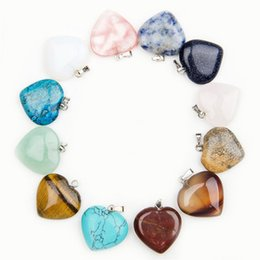 Wholesale Polished Stone Jewelry - Heart natural Stone Gemstone Charms Pendants High Polished Loose Beads Silver Plated Hook Fit Bracelets and Necklace Jewelry accessories