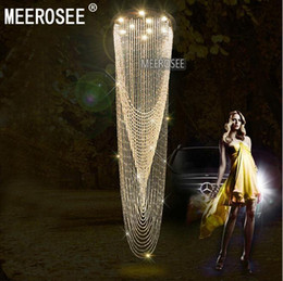 Wholesale Modern Curtains For Living Room - Modern Crystal Curtain Chandelier Light Fixture for Lobby, staircase, stairs, foyer Large Crystal Lighting different sizes
