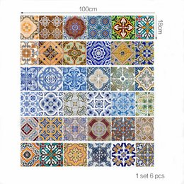 Wholesale Vinyl Adhesive Tiles - Set of 6PCS 3D Stair Sticker 3D Printing Ceramic Tile Self-adhesive Removeable Waterproof Wallpaper Decal Decor For Home Living Room Hall