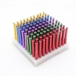 Wholesale Snuff Aluminum - Wholesale Cheap Pipes 100pcs lot NEW Mixed Colors 78mm and 55mm Herb Snuff Metal Aluminum Herb Pipe Cigarette Holder Smoking Tobacco Display