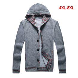 Wholesale Cardigan Big Size - Wholesale-4XL 5XL 6XL 7XL 8XL New Autumn Men Cotton Cardigans Hoodies Jacket Coat 2016 Brand Long Sleeve Big Size Sports Plus Size Hoodies