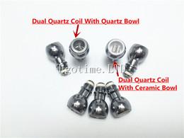 Wholesale wax glass bulb atomizer - Hot Sale Dual Quartz Wax Coil Quartz Bowl For Wax Glass Globe Bulb Atomizer Dual Quartz Replacement Coil Head VS Skillet Cannon tank