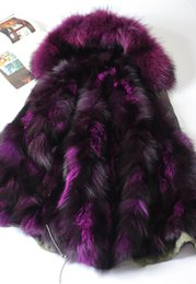 Wholesale Fox Collar Coat - Fox fur Liner for Female furs coats MMF women down parkas hooded with real raccoon fur collar