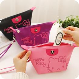 665bf8d8a3 Discount hello kitty makeup bag - 1pcs Women Portable Cute hello kitty  Multifunction Beauty Zipper Travel