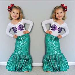 Wholesale Skirt Set Tight - Children Sequin Mermaid Sets Clothing Kids Girls 2PCs Suits Dress Outfits Top T-shirt+Tight Skirts Pettiskirt HH-S08