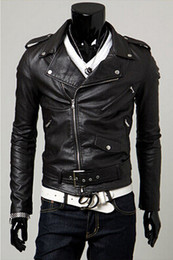 Wholesale biker bomber - Wholesale- Spring autumn 2017 new men's leather jacket men leather bomber biker leather jackets for men skin jacket coat