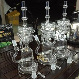 Wholesale Glass Swirl - New perfect fution swirls Glass Bongs arms inline recycler heady dab oil rigs Gear Perc Water Pipes Bowl bong quartz banger ash catcher