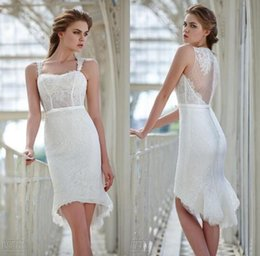 Wholesale Slim Fitting Mermaid Bridal Dresses - 2016 Gorgeous Mermaid Short Beach Wedding Dresses Victoria F. Sweetheart Slim Fit Lace Bridal Gowns Custom Made