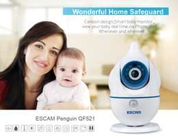 Wholesale Real Time Baby - ESCAM Penguin QF521 HD Recording IR-cut P2P Audible Alarm Day Night Real Time Two-way Audio Cartoon Design Smart Baby Monitor