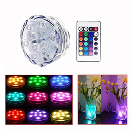 Wholesale light lamp remote control - 10 LED Submersible Light RGB Remote Control Light Waterproof LED Candle Lamp Submersible Light Floral Vase Base Light Party Decoration
