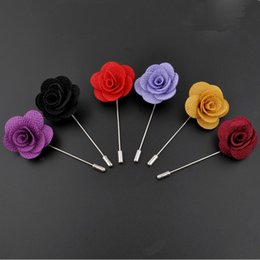 Wholesale Ribbon Pins - Hot Sale Ribbon Lapel Flower Rose Handmade Boutonniere Brooch Pin Men's Accessories Brooches Pins Jewelry Wholesale 0406WH