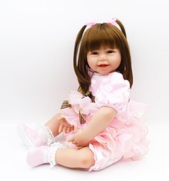 "Wholesale Dolls Adora - Wholesale- 2017 cute long hair girl doll 24"" 61cm New Big Size Handmade Reborn Babies Silicone Vinyl Adora lifelike boy doll bebe Reborn"