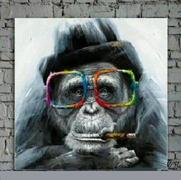 Wholesale Painted Glass Art - Framed Lovely Monkey with glasses,Pure Hand Painted Contemporary Asian Art Oil Painting On Quality Canvas Multi sizes Available moore2012
