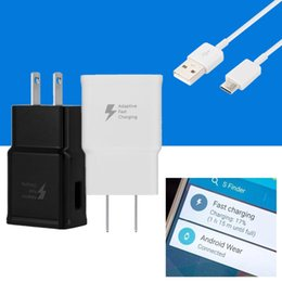 Wholesale Fast Packaging - For Samsung Galaxy S8 Note 8 S7 Adaptive Fast Charging Wall Travel Charger OEM US EU UK Adapter Type C Micro USB Data Cable with package