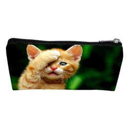 Wholesale Pent Men - Wholesale- New Arrivals Polyester Printing Animal Cat Student Coin Purses Women Key Wallet Teenager Pen Bags Children Change Purse for Men